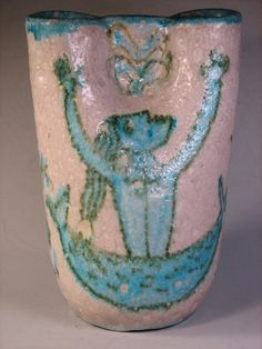 Guido Gambone Vase w/ Donkey Mark Classic Mid Century Italy Beauty