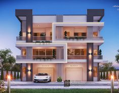 New classic palace on Behance House Main Gates Design, 2 Storey House Design, Bungalow House Design, House Front Design, House Design Pictures, Classic House Design, Contemporary Building, Building Design, Building Facade