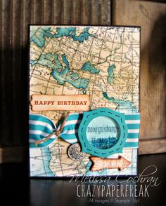 Stampin' Up! Birthday card created by Melissa @ crazypaperfreak.blogspot.com ~ World Map, Something to Say, The Open Sea, From My Heart, Bermuda Bay, Baked Brown Sugar, masculine, world traveler, shaker frame, handmade greeting card