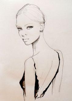 Beautiful fashion illustration - dress back, fashion drawing; fashion sketch // Kasia Rei fashion illustration - dress back, fashion drawing; Fashion Sketchbook, Drawing Fashion, 3 4 Face, Fashion Illustration Dresses, Fashion Illustrations, Design Illustrations, Woman Drawing, Drawing Women, Drawing Faces
