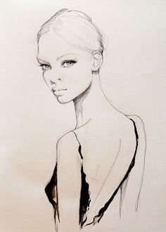 Beautiful fashion illustration - dress back, fashion drawing; fashion sketch // Kasia Rei