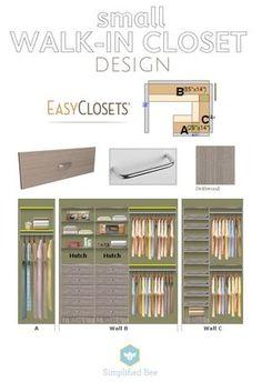 small walk-in closet design // EasyClosets // Simplified Bee