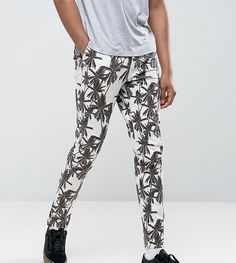 ASOS TALL Skinny Cropped Pants In Palm Tree Print - Stone