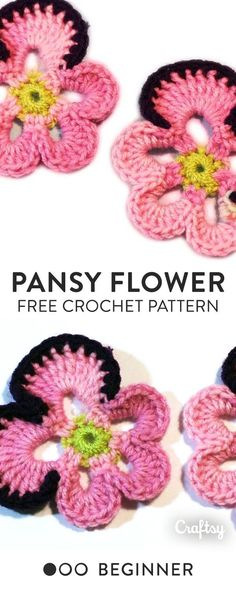 Crochet these life-like pansy flowers. Get the free beginner pattern and video tutorial at Craftsy!
