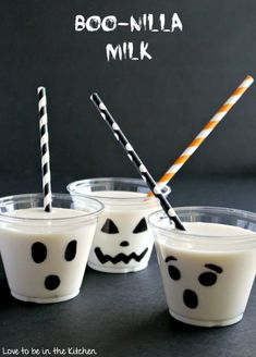 Boo-nilla Milk is the perfect fun and healthier Halloween drink! Slightly sweetened milk with the perfect hint of vanilla. Add it in a cup with a ghost face drawn on and you have the perfect drink to go with your Halloween breakfast or treats! Halloween Breakfast, Halloween Snacks For Kids, Halloween Class Party, Healthy Halloween Treats, Halloween Drinks, Halloween Desserts, Holiday Desserts, Holiday Recipes, Halloween Shots