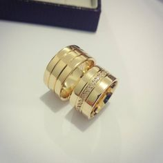 Cartier Wedding Rings, Gold Wedding Rings, Bridal Rings, Bridal Jewelry, Gold Rings, Wedding Rings Sets His And Hers, Wide Wedding Bands, Cute Jewelry, Jewelry Gifts