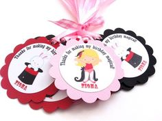 Girl Magician and Bunny in the Hat Favor Tags for Magic Show Party  | adorebynat - Paper/Books on ArtFire