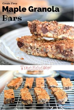 Grain Free Maple Granola Bars are a healthy, easy, delicious snack or breakfast!  Gluten and dairy free.  I lost 8 sizes and reversed Type 2 Diabetes through diet and lifestyle.  For more healthy ideas follow me on Pinterest and subscribe to my blog at this link. #paleogranolabars