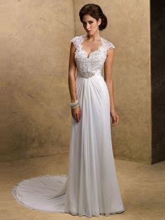 Sheath/Column Queen-anne Chiffon Court Train Lace Wedding Dresses