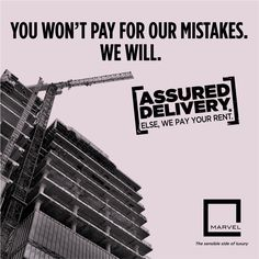 Marvel launches its newest initiative - ‪#‎AssuredDelivery‬. We guarantee to deliver your dream home on time. If not, we will pay your rent. For more: http://bit.ly/AssuredDelivery