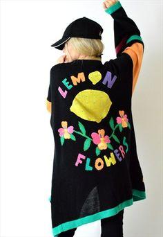 Vintage+80s+Colourful+Linen+Knit+Sassy+Flower+Cardigan