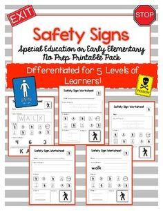 Safety sign worksheets: special education no-prep printable pack pre k activities, vocabulary Vocabulary Worksheets, Vocabulary Cards, Free Preschool, Preschool Printables, Education Quotes For Teachers, Special Education Teacher, Elementary Science, Elementary Education, Pre K Activities