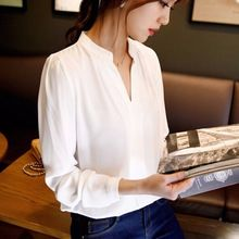 Nieuwe Casual Witte Vrouwen Chiffon Blouse Dames Solid Elegante V-hals Blouses…