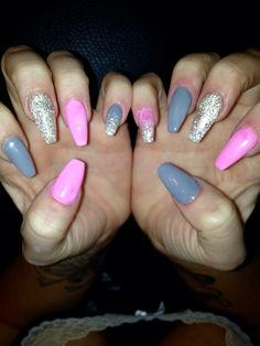 Love these #coffin #glitter #acrylic #nails #pink #grey #spring #nsi #long