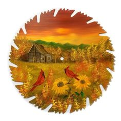 Hand Painted Saw Blade  Sunset Cabin Cardinals Sunflowers 9 1/4 Inch Blade