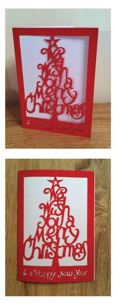 Paper cut out Christmas tree card 2014