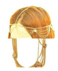 Fashion Jewelry ~ Goldtone Head Chain with Clear Crystals (Style FH1056-GLD)