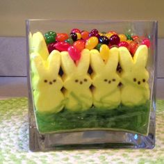 Easter Decoration. The only good way to us Peeps and jelly beans.