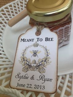 100 Qty Meant To Bee Honey Wedding Shower Favors With Dipper & Personalized Tags