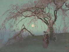 """Kumoi Cherry Trees"" Author: Yoshida Hiroshi (Japanese, 1876-1950)Date: 1926Medium: Color woodblock printLocation: Museum of Fine Arts, Boston"