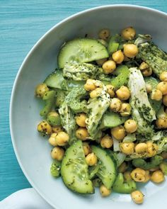 Chicken, Chickpea, and Pesto Salad. Dinner with great crusty bread and a bit of cheese; summer; fall; chop ahead