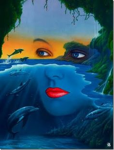 mother nature Jim Warren is a U. self-taught artist best known for audio album and book cover artwork. He has worked in surrealistic fantasy since about Illusion Paintings, Illusion Art, Surrealism Painting, Painting Art, Modern Surrealism, Fantasy Paintings, Fantasy Art, Face Paintings, Fantasy Women