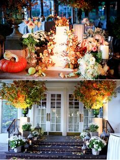 fall table and entryway