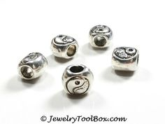 Yin Yang Beads, Antique Silver Pewter, 9x10mm, 5mm Large Hole, Lead Free, Lot Size 6 to 30, #1262