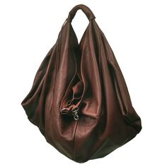 Hobo leather bag Medium sized in Castagno brown by iyiamihandbags