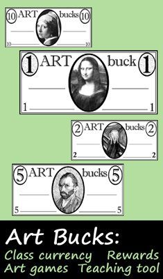 Art Bucks for the art classroom: use them like classroom currency, play art games, use as positive reinforcement, trade/barter for supplies, bid on classmates' work! This might be better than the apple tree and MUCH less work. Elementary Art Rooms, Art Lessons Elementary, Middle School Art, Art School, Teaching Art, Teaching Tools, Teaching Career, Art Room Rules, Art Classroom Management