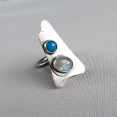 sterling silver cocktail ring with blue by laurenmeredith on Etsy, $95.00