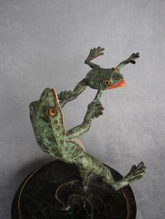Flying Frogee  Whimsical  Frog Sculpture Bronze by artartist, $995.00