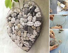DIY - cut and shape chicken wire into a heart and fill with stones