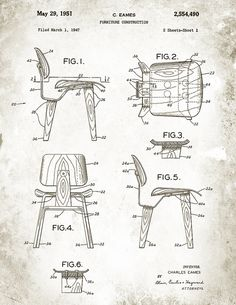 Patent Illustration for the Charles Eames DCW Chair