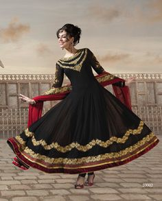 Black bamberg georgette anarkali suit   1. Black bamberg georgette anarkali suit2. Golden thread embroidered neckline and sleeves3. Black flare with velvet border4. Comes with matching shantoon bottom and dupatta5. Can be stitched upto size 44 inches