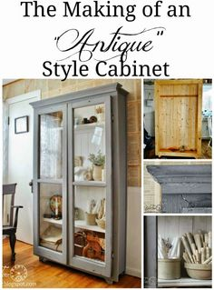 Repurposed Windows into DIY Antique Cupboard Cabinet via Knick of Time Furniture Projects, Furniture Making, Furniture Makeover, Home Projects, Diy Furniture, Antique Cupboard, Antique Cabinets, Antique Farmhouse, Curio Cabinets
