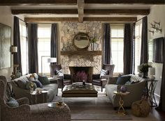 two sofas, 2 chairs upholstered in same fabric...with tv on different wall.......transitional living room by Heather Garrett Design