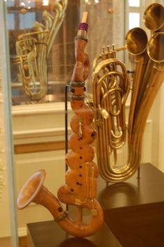 Wood saxaphone(?) at Musee des Instruments de Musique / Musical Instrument Museum, Brussels, Belgiu