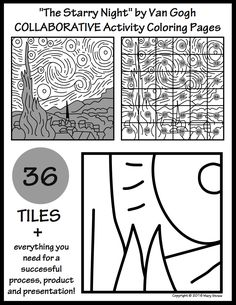"36 ""tiles"" for your students to design + everything you need for a successful process, product and presentation. Final artwork measures 45"" x 45."" ""Starry Night"" collaborative project."