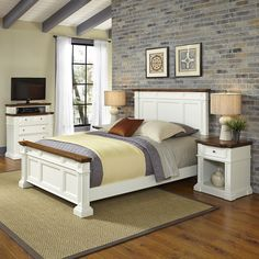 Home Styles Americana White and Oak Bed Two Night Stands and Media Chest