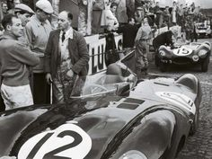 The debut of the Jaguar D Type at Le Mans, 1954. That's Sterling Moss on the left.