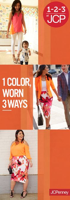 Celebrate Mother's Day with the color of the moment – tangerine. Embracing this color is as easy as 1-2-3 with JCPenney's collection of unique and stylish separates. Shine bright with a cold-shoulder blouse paired with a floral pencil skirt. For a mom on-the-go, try an asymmetrical hemline blouse that's perfect for running around. For a twist on a traditional work blazer, throw on a one-button jacket in electric orange from Worthington. Explore the color wheel this Mother's Day at JCPenney.