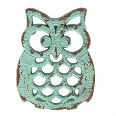 Rustic Owl Trivet/Teapot Stand In Duck Egg