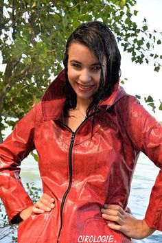 Julie Cacciatore, Exterieurs, 1720 - This photo is copyrighted by the photographer and may not be used without permission. COPYRIGHT : Cirologie.com Red Leather, Leather Jacket, Pvc Raincoat, Cacciatore, Rain Wear, Collections, Jackets, Fashion, Surfboard Wax