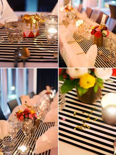 Striped table http://blog.heylook.fi/2011/12/circus-themed-christmas-party.html