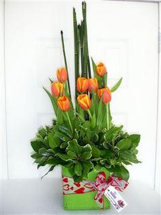 Lindo arreglo de Tulipanes, con un toque de alegria unico, envialo a todo el salvador..