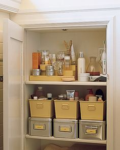 Bathroom closet idea-Label Plastic Bins and have a look at the great idea of staircase for smaller bottles on the upper shelf - you'll always see where the item is. Bathroom Closet Organization, Bathroom Storage, Organization Hacks, Organization Ideas, Organized Bathroom, Storage Ideas, Home Design, Design Ideas, Interior Design