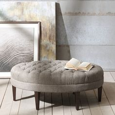 Add some ornate flair to your decor with this Cory Tufted Beige Linen Ottoman! You'll love the espresso legs and button tufted details on this piece. Tufted Ottoman Coffee Table, Oval Ottoman, Ottoman Bench, Ottoman Ideas, Diy Ottoman, Square Ottoman, Cocktail Ottoman, Transitional Decor, Surfboards