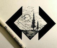 pen and ink Tattoo Geometrique, Illustration Art, Illustrations, Art Graphique, Pen Art, Cool Drawings, Pencil Drawings, Simple Art, Geometric Art