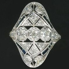 Diamonds and Sapphires Ring Platinum in by adinantiquejewellery, $4,000.00